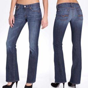 7FAMK Flared Jeans Size 26x32 Tall Blue Distressed